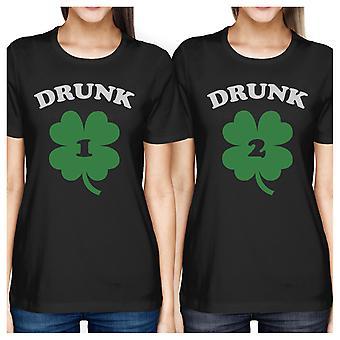 Drunk1 Drunk2 donne Black BFF divertente marciando camicie St Patricks Day
