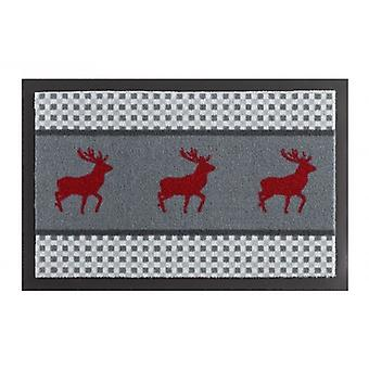 Doormat dirt trapping pad deer Deer Grau red 40 x 60 cm