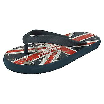 Boys Spot On Distressed UK Flag Design Flat Toepost Flip Flops N0022 - No Box