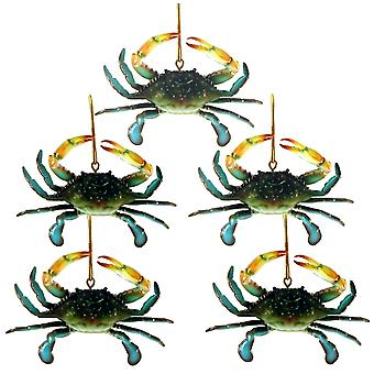 Coastal Maryland Blue Crab Christmas 4 Inch Ornament Set of 5