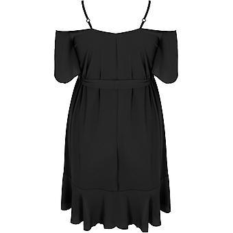 Black Cold Shoulder Swing Dress With Frill Hem