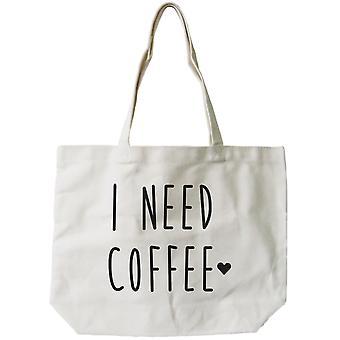 Frauen wiederverwendbare Canvas Tasche - ich brauche Kaffee natürliche Canvas Tote Bag