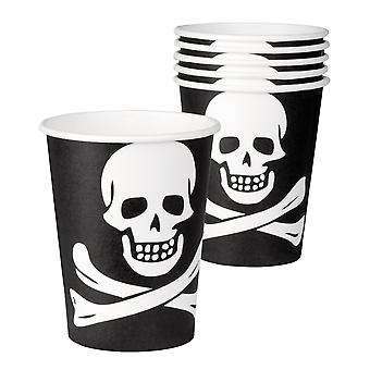6 Halloween Pirate Skull & Cross Bone Paper Cups Tableware Party Accessory 25cl