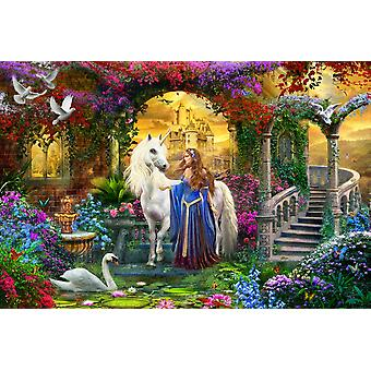 Prinsesse & Unicorn i Cloisters plakat Print af Jan Patrick