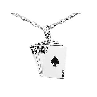 Royal Flush Pendant Necklace in Sterling Silver with Chain