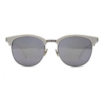 Saint Laurent SL 108 Surf Clubmaster Style Sunglasses In Ivory Mirror