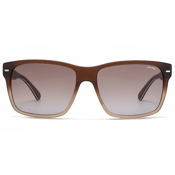 Police Square Sunglasses In Matte Gradient Brown