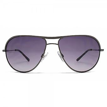 Karen Millen Brow Bar Aviator Sunglasses In Gunmetal