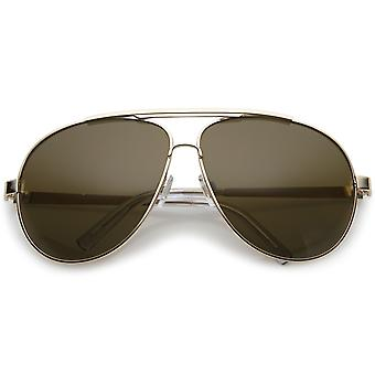 Premium Oversize Metal Aviator Sunglasses With Double Nose Bridge And Flat Top 67mm