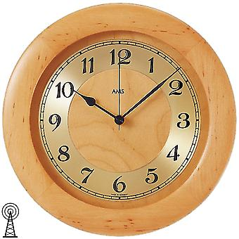 Radio controlled wall clock wall clock radio housing solid wood Alder mineral glass