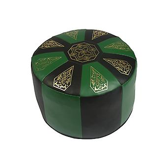 Seat cushion Pouffe Oriental pillow around artificial leather, Green/Black, width 50 cm, height 34 cm
