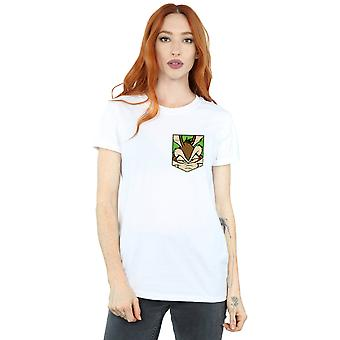 Looney Tunes Women's Wile E. Coyote Face Faux Pocket Boyfriend Fit T-Shirt