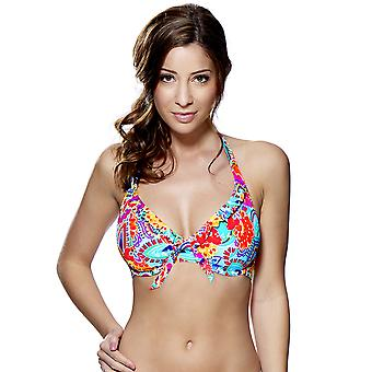 Audelle Fiesta Multi Coloured Print Halterneck Bikini Top 147462