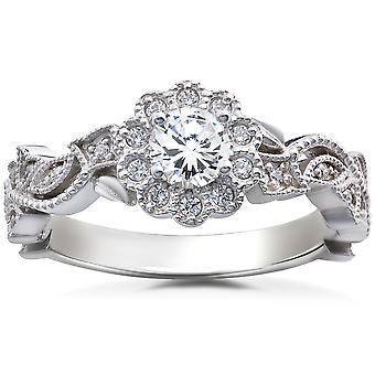 1 / 2CT Diamanten Vintage Blütenblatt Engagement rund um Halo-Ring 14K Weissgold