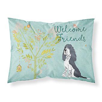 Welcome Friends Black Springer Spaniel Fabric Standard Pillowcase
