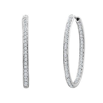 Diamond In and Out Hoop Earrings 1/4 Carat (ctw) in 14K White Gold