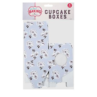 6 Pack Of Blue Flowers Cupcake Boxes With PVC Window