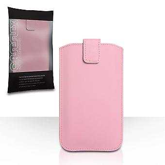 Caseflex PU Leather Auto Return Pull Tab Pouch (M) - Baby Pink