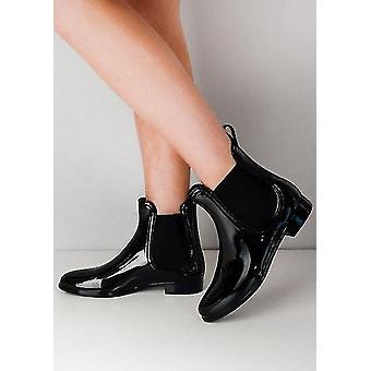 Pluie de brevet Chelsea Ankle bottes noir