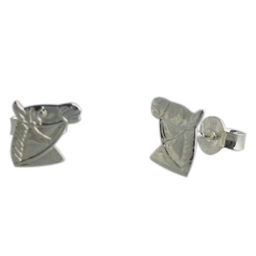 Silver 8x9mm Horse Head stud Earrings