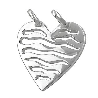 Pendant heart with two eyelets silver 925