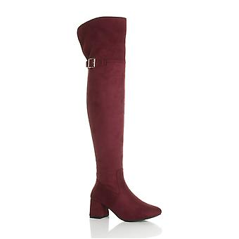 Ajvani womens block mid heel zip buckle fold over cuff over the knee high boots