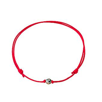 Necklace Pearl of Tahiti and cotton wax Red