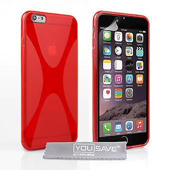 iPhone 6 pluss silikon X-Line bærevesken - rød