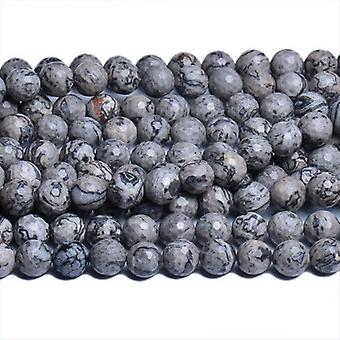 Strand 60+ Grey/Black Scenery Jasper 6mm Faceted Round Beads CB31141-1