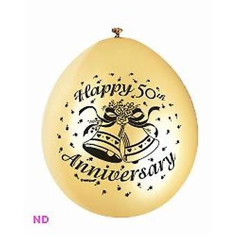 "'HAPPY 50th ANNIVERSARY' 9"" Latex Balloons Gold (10)"