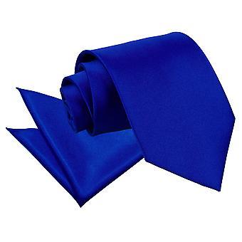 Lazo de Satén real azul llano & conjunto Plaza de bolsillo