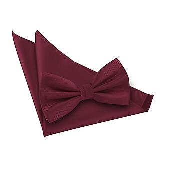 Burgundy Solid Check Bow Tie & Pocket Square Set