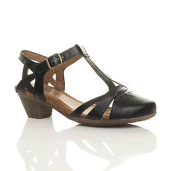 Ajvani kvinners midt blokkhæl kuttet ut t-bøylen smart arbeid casual sommer ankelen stroppen komfort aksent sko sandaler