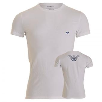 Emporio Armani Big Eagle Stretch Cotton Crew Neck T-Shirt, White, Large