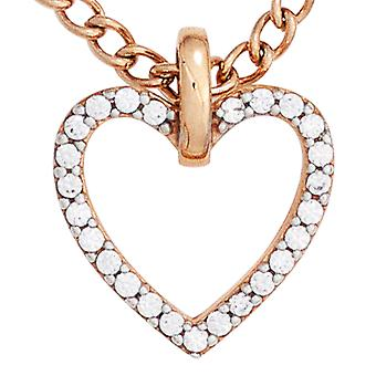 Heart pendant heart 333 gold red gold part rhodium plated with cubic zirconia