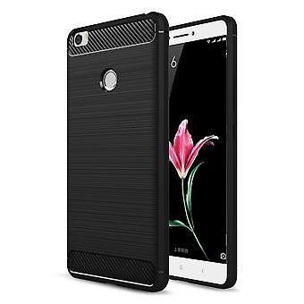 Xiaomi Mi Max TPU Case Carbon Fiber Optik Brushed Schutz Hülle Schwarz