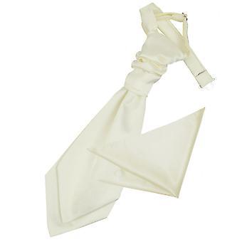 Ivory Plain Satin Wedding Cravat & Pocket Square Set for Boys