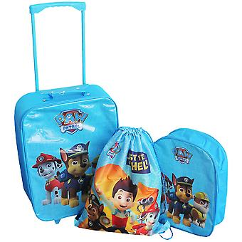 3 in 1 Set Paw Patrol Chase suitcase Backpack DrawString bag Blue
