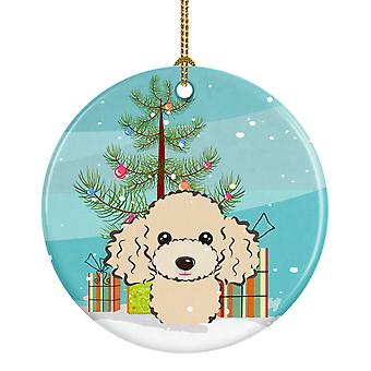 Carolines Treasures  BB1630CO1 Christmas Tree and Buff Poodle Ceramic Ornament