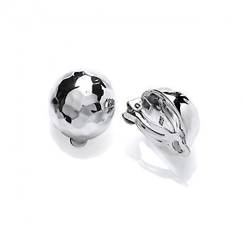 Cavendish franska hamrade Silver Ball Clip örhängen