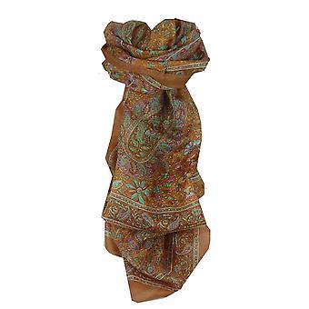 桑絹の伝統的な長いスカーフ ダクシャ栗パシュミナ ・ シルクで