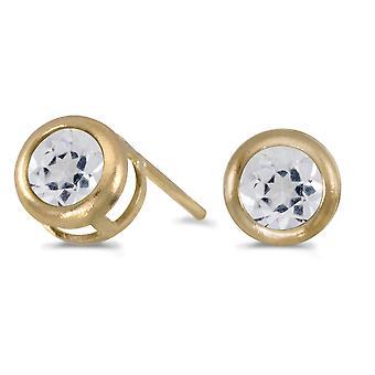 14k Yellow Gold Round White Topaz Bezel Stud Earrings