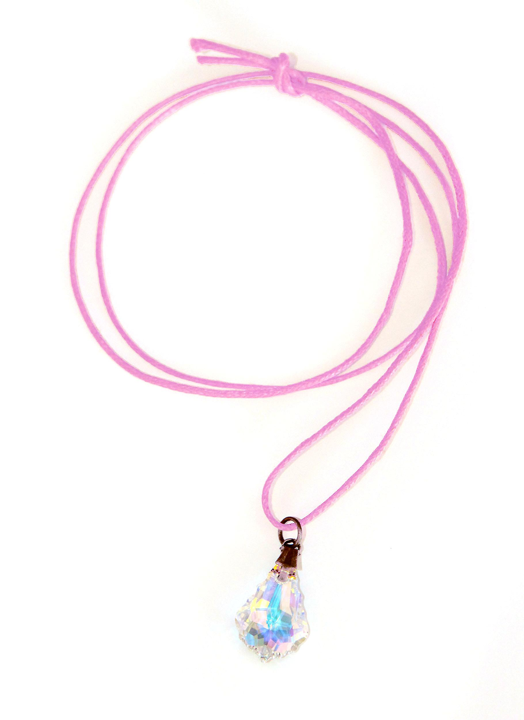 Waooh - Jewelry - Swarovski / Pendant tear reflection blue pearl and waxed cord