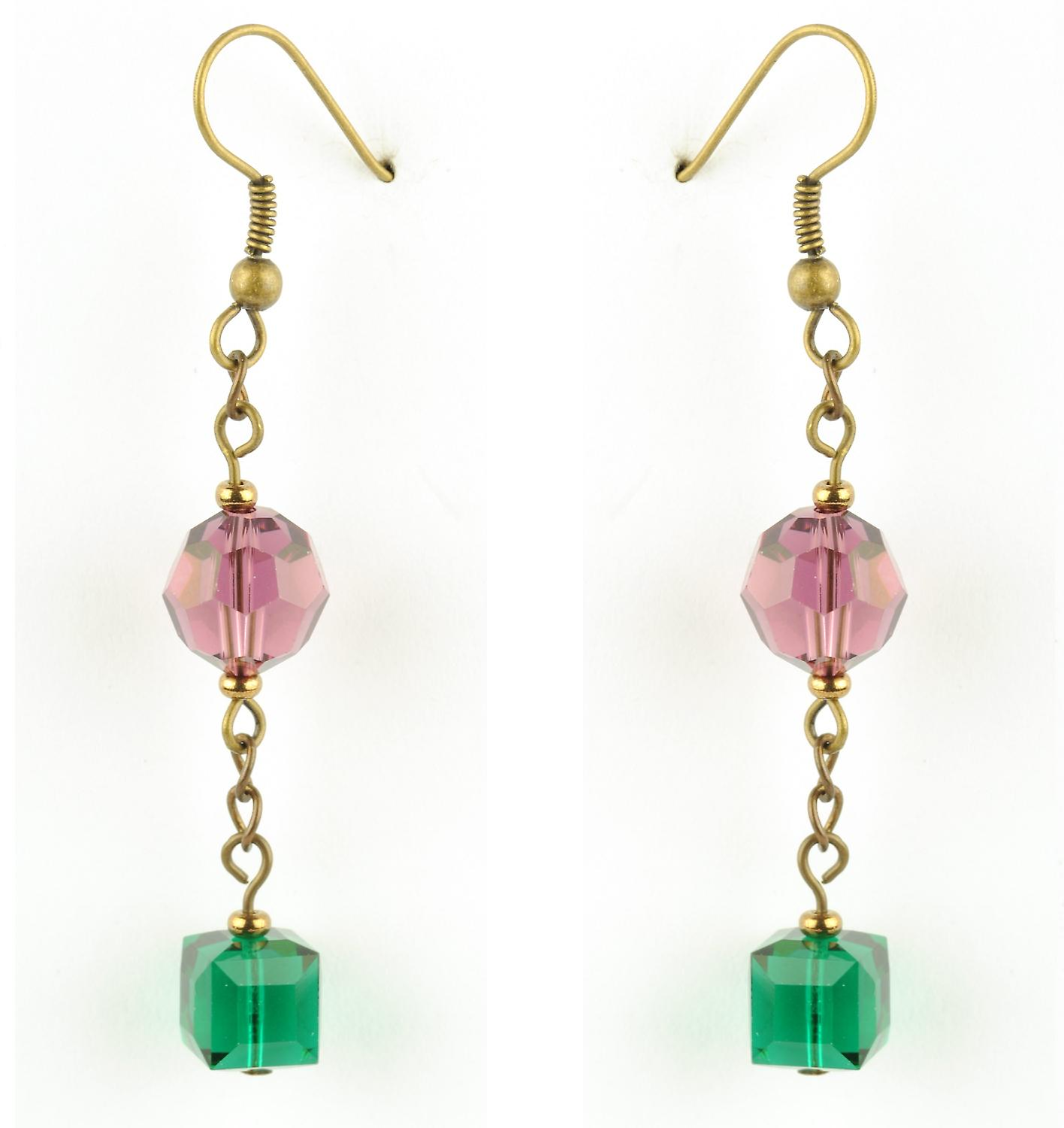 Waooh - jewelry - WJ0775 - earrings with Rhinestone Swarovski pink & green Emerald - mount colour gold