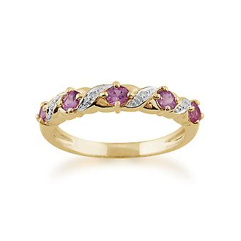 Gemondo 9ct Yellow Gold 0.50ct Pink Sapphire & Diamond Half Eternity Ring