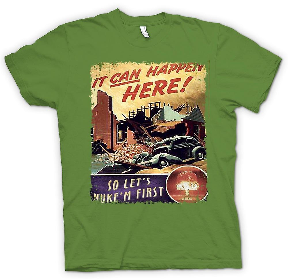 Mens T-shirt-Kalten Krieges Vintage Poster Nuke Em