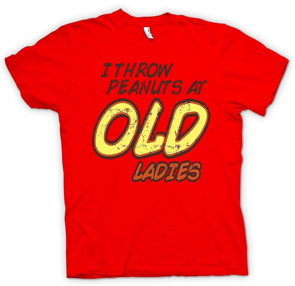 Mens t-skjorte - jeg kaste peanøtter på gamle damer - tilfeldig Funny