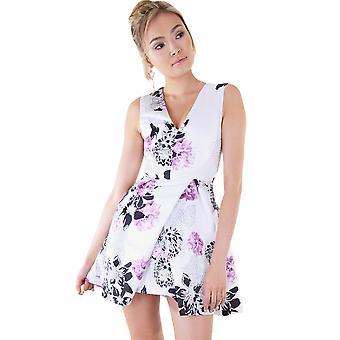 LMS Floral Mini robe avec encolure plongeante et jupe pli creux