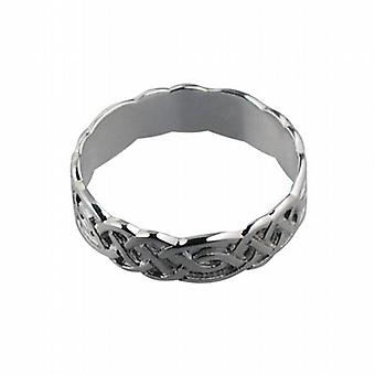 9ct White Gold 6mm Celtic Wedding Ring Size R
