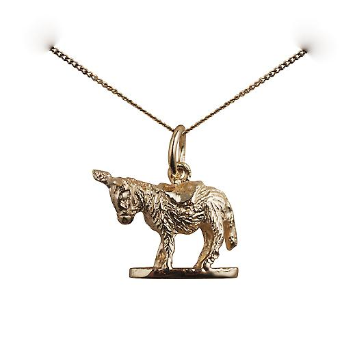 9ct Gold 14x17mm solid Donkey Pendant with a curb chain